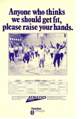 """Anyone who thinks we should get fit, please raise your hands"" : [poster]"