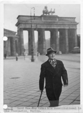 Lord Haw-Haw takes his constitutional in the Tiergarten, Berlin